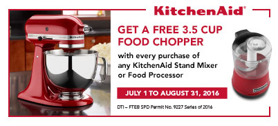 Get a FREE KitchenAid food chopper for every purchase of any Stand Mixer or Food Processor