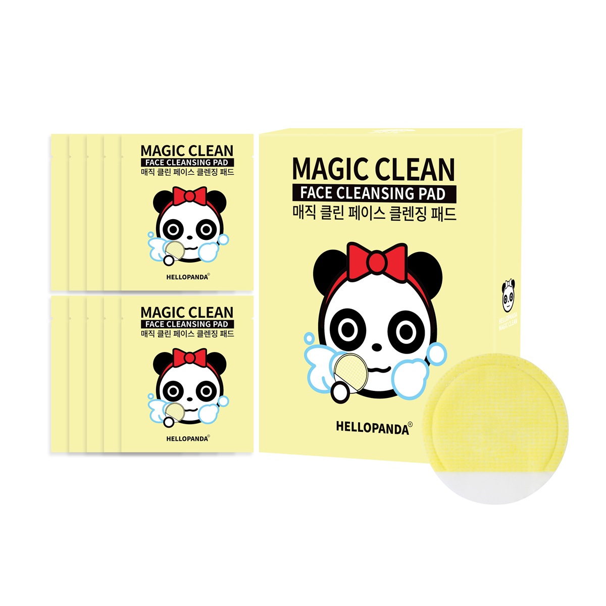 HELLOPANDA MAGIC CLEAN FACE CLEANSING PAD (NATURAL 10PCS/BOX)