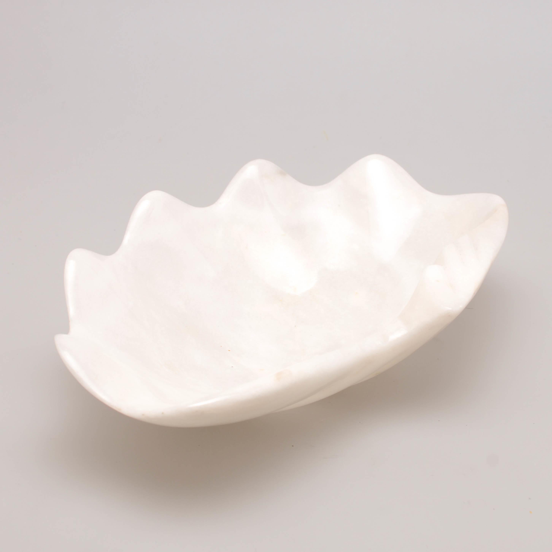 """Marmol Stonework Marble Shell Tray 5"""" White (M5SHTR-W)"""