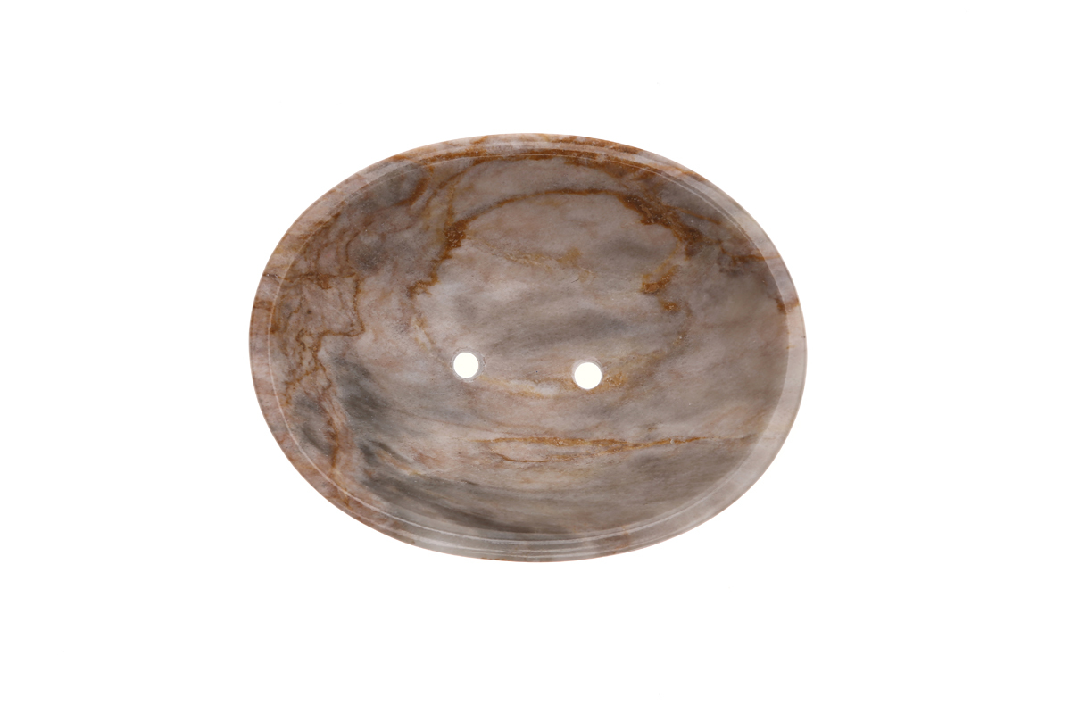 Marmol Stonework Oval Marble Soapdish Blue Century (MSODCIR-BC)