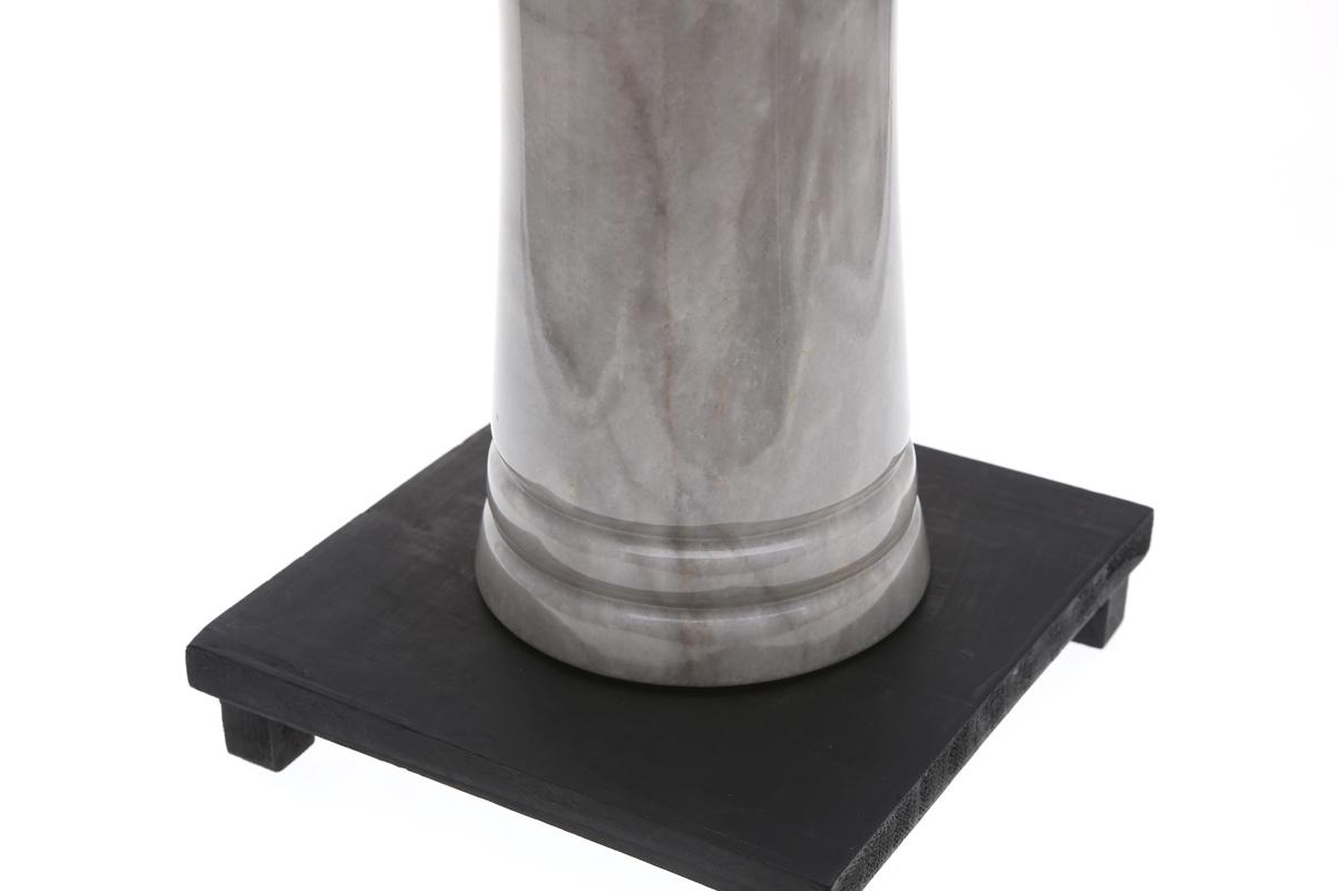 Marmol Stonework Cylindrical Marble Vase with Groove White (MBVCYGRT-W)