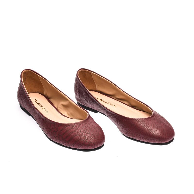 The Shoe Cycle Gallano Flats - Maroon (GAL 001)