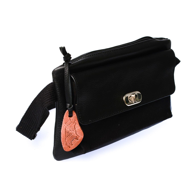 Our Tribe Women's Leather Hybrid Bag -737 B (Black)