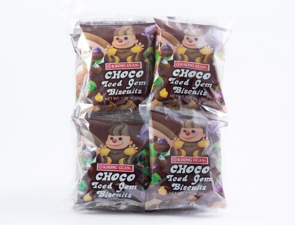 2 Bundles of Khong Guan Choco Iced Gem Biscuits (CIG-12) 30 g x 12 packs