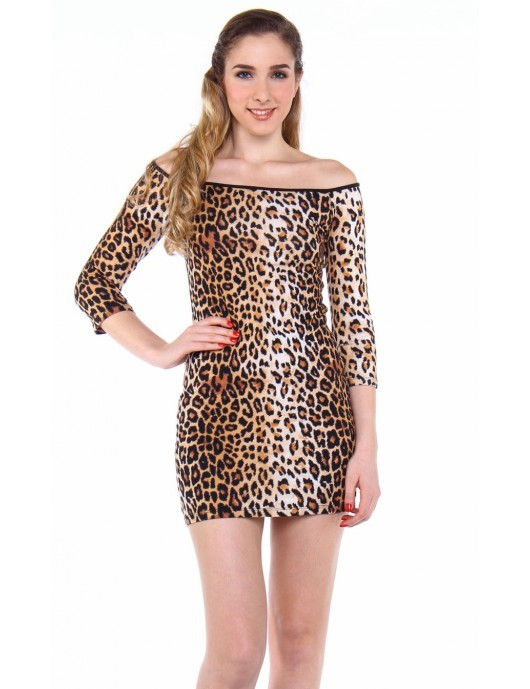 FOREVER 21 BODYCON THREE FOURTHS SLEEVE DRESS BROWN (AJY140344666)