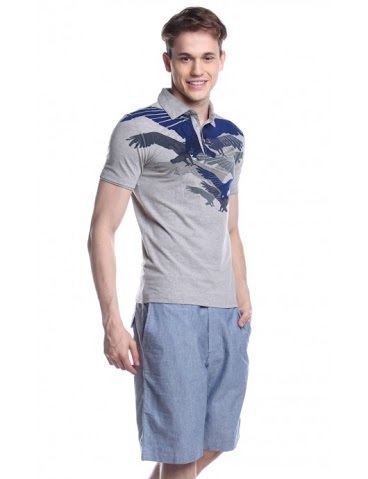 ARMANI EXCHANGE MENS SHORT SLEEVE KNITS WITH COLLAR AWG121138486 (GRAY)