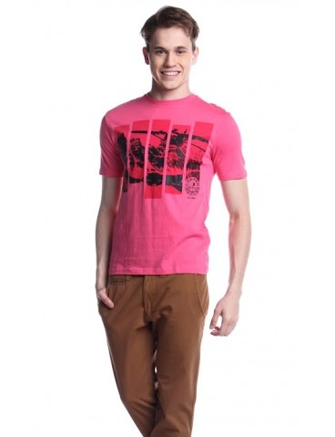 ESPRIT MENS SHORT SLEEVE KNITS ROUND NECK AGC140745355 (PINK)