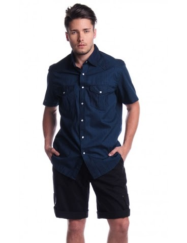 OLD NAVY MENS SHORT SLEEVE WOVEN WITH COLLAR & POCKET AGC140745343 (NAVY BLUE)