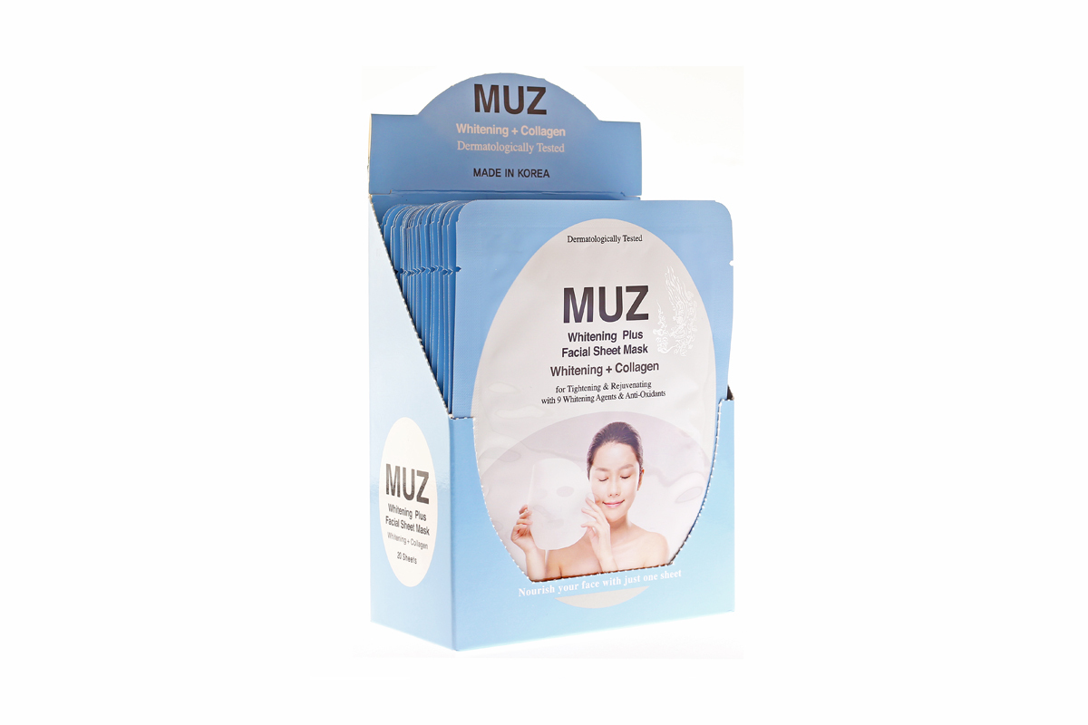 MUZ Facial Sheet (Whitening + Collagen)   002-CL + Free DASOM Eyelash Thickening Serum