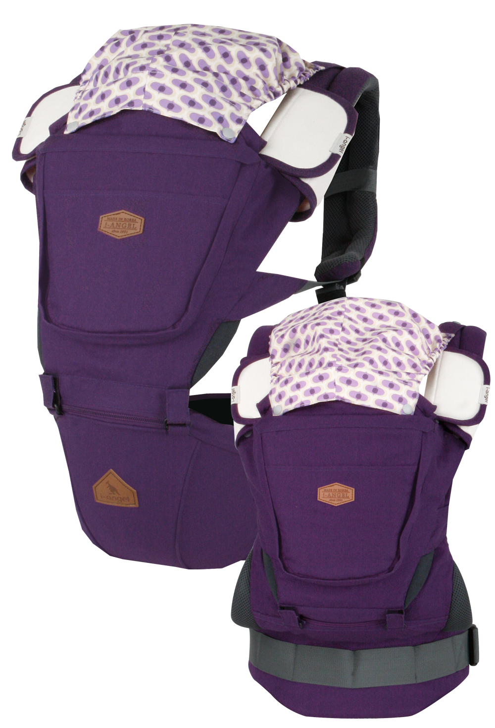 I-ANGEL RAINBOW INTERCHANGEABLE BABY CARRIER+HIPSEAT CARRIER  (VIOLET)