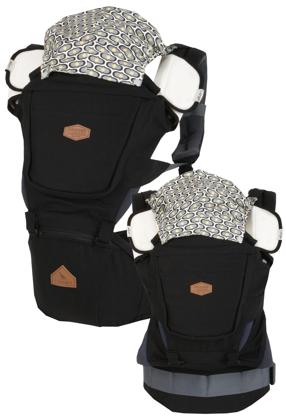 I-ANGEL RAINBOW INTERCHANGEABLE BABY CARRIER+HIPSEAT CARRIER (BLACK)