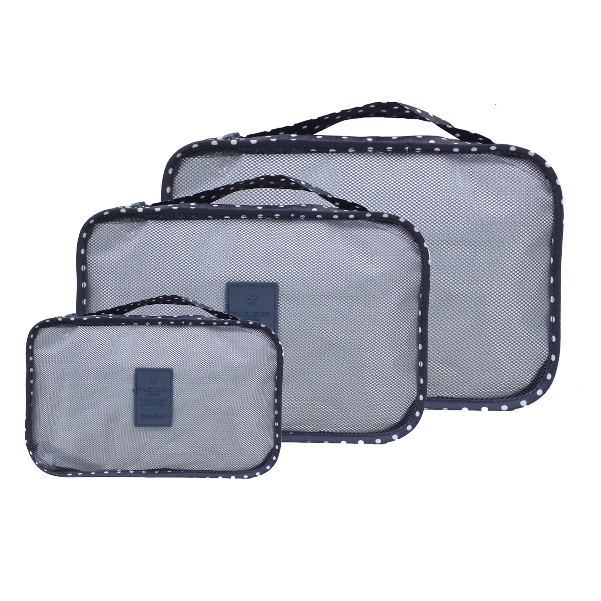 6 in 1 Packing Bags (Polka Navy blue)