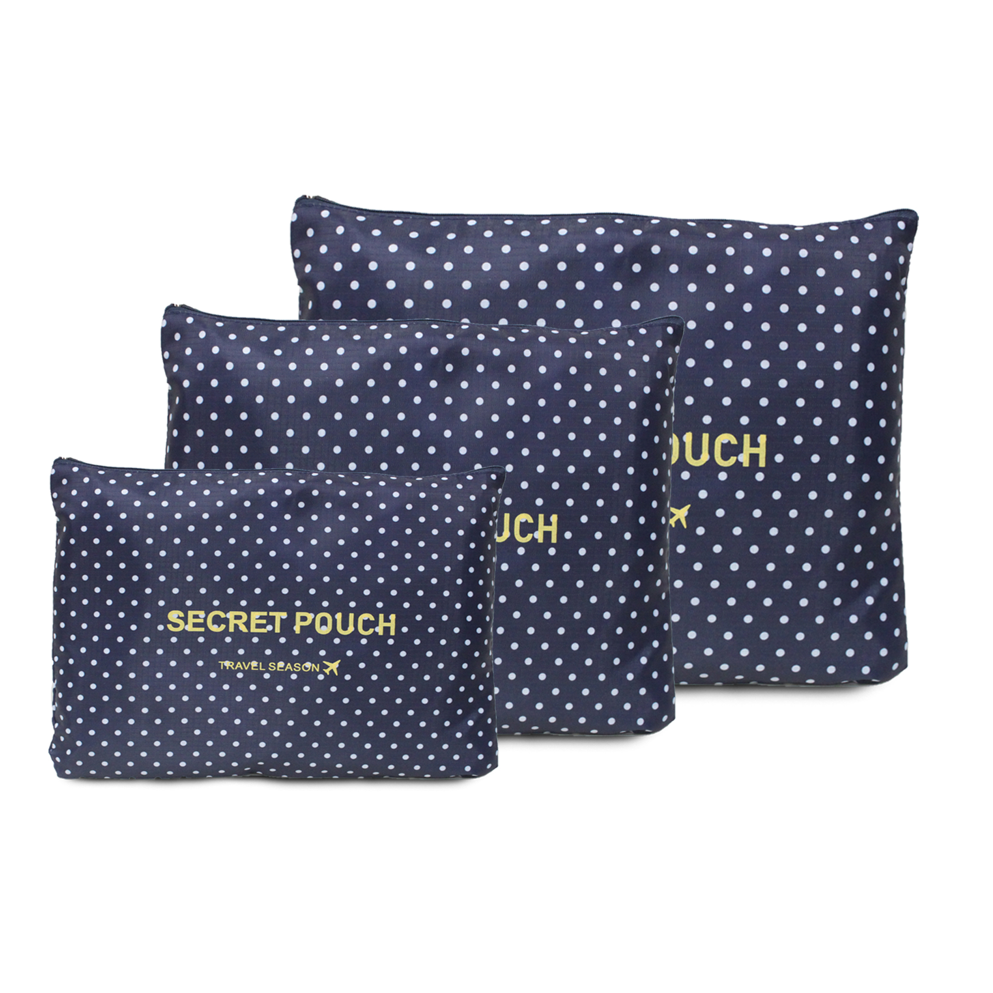 6 in 1 Packing Bags (Polka Navy blue)