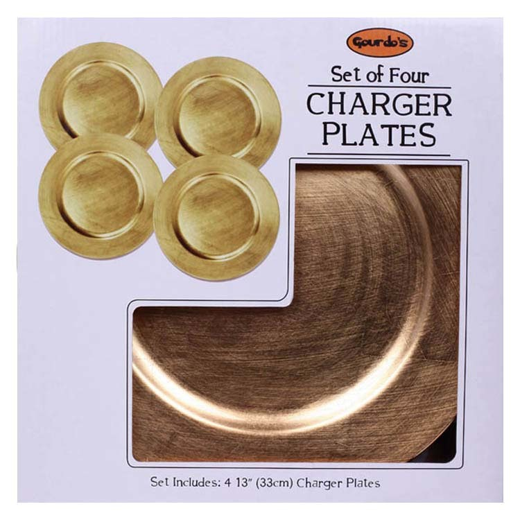 "SET OF 4 CHARGER PLATE ROUND PLAIN GOLD 13"" (3425301)"