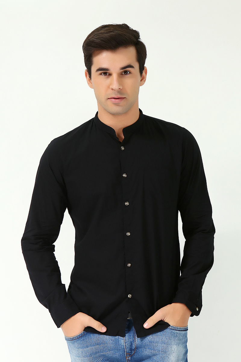 6c3b08f18fd50f zara man men's long sleeve woven with mandarin collar black (69957)