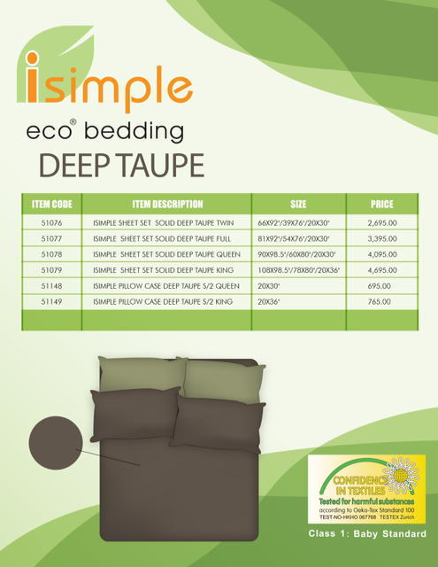 ISIMPLE PILLOW CASE DEEP TAUPE S/2