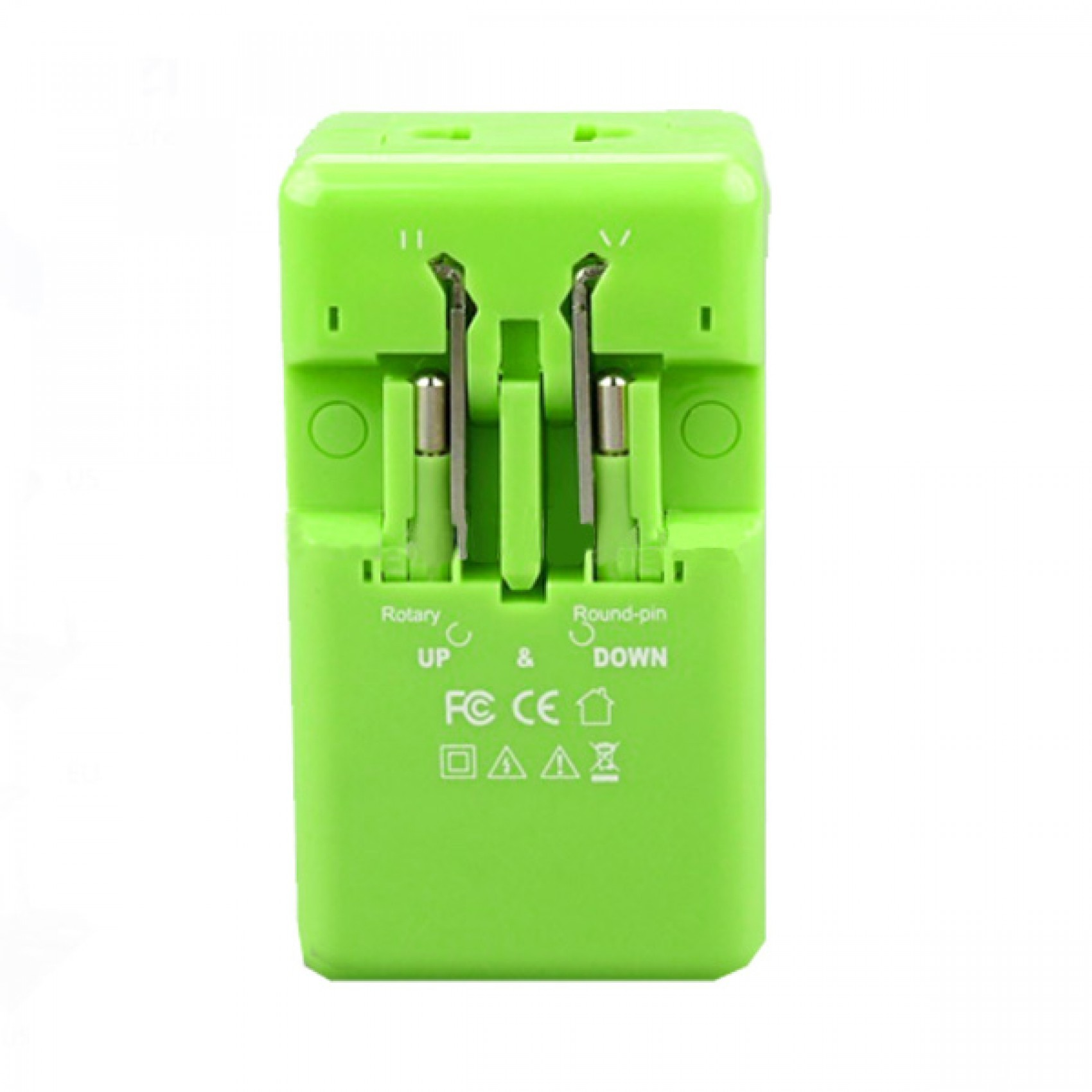 TRAVEL ADAPTOR WITH 2 USB PORT - GREEN