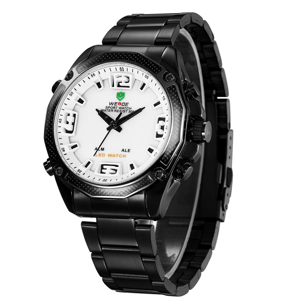 WEIDE ANALOG AND LED DIGITAL DISPLAY STAINLESS STEEL BAND STRAP WATCH WH2306B-2C-WHITE DIAL