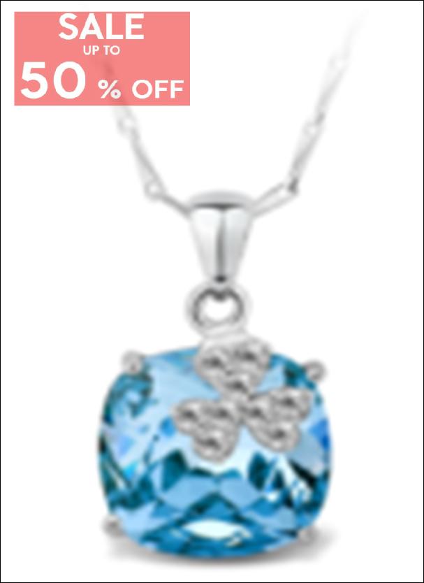 My Story Swarovski Clover Blue Gem Necklace (t21)