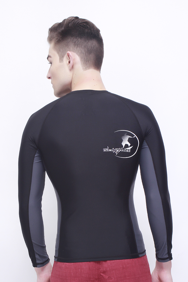 Island Haze Jungle Fever Long Sleeves Rashguard with UV Protection (Black-0286)
