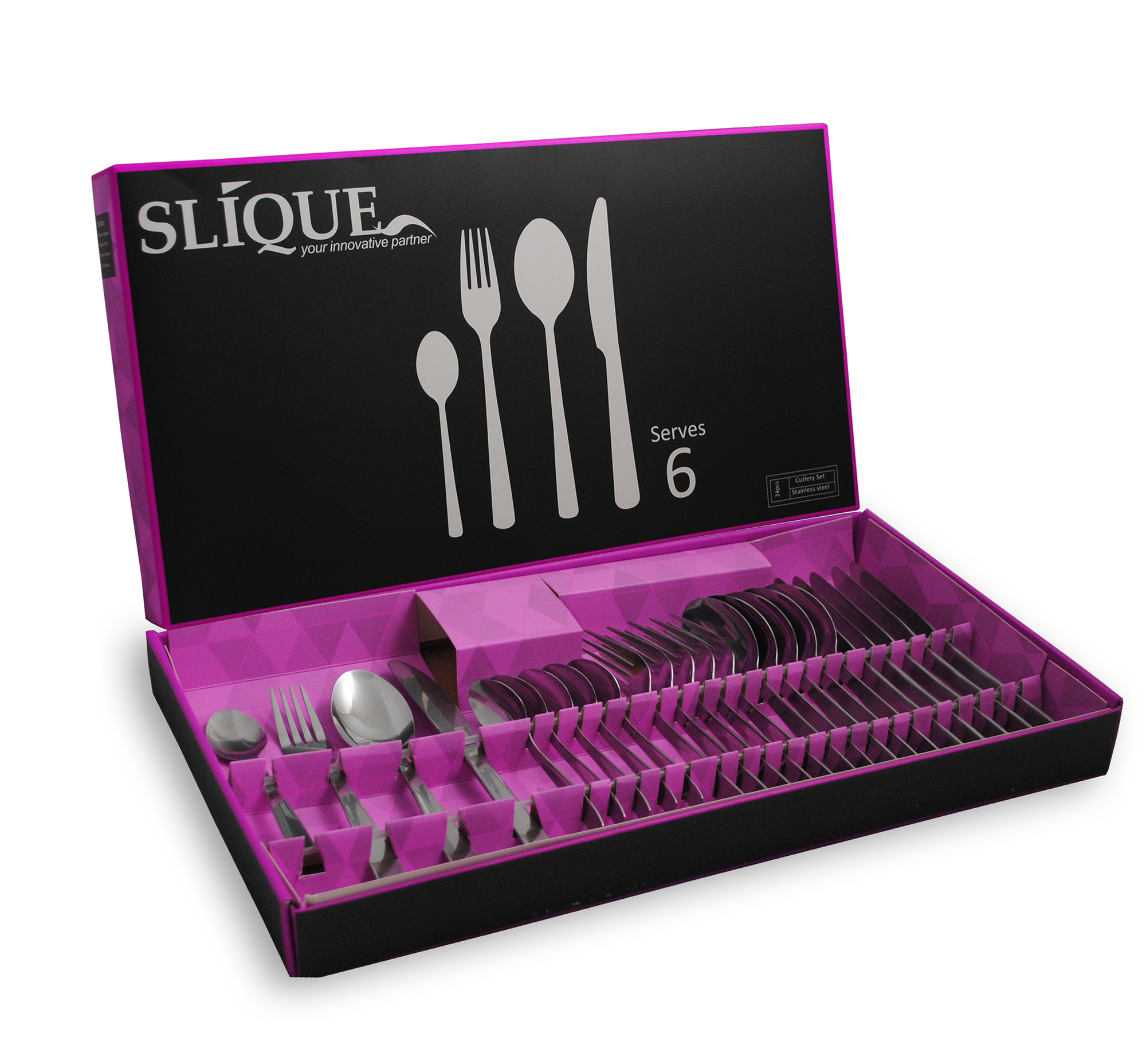 Slique 24pc Cutlery SetPurple ( SLQ-0703-24-PU)