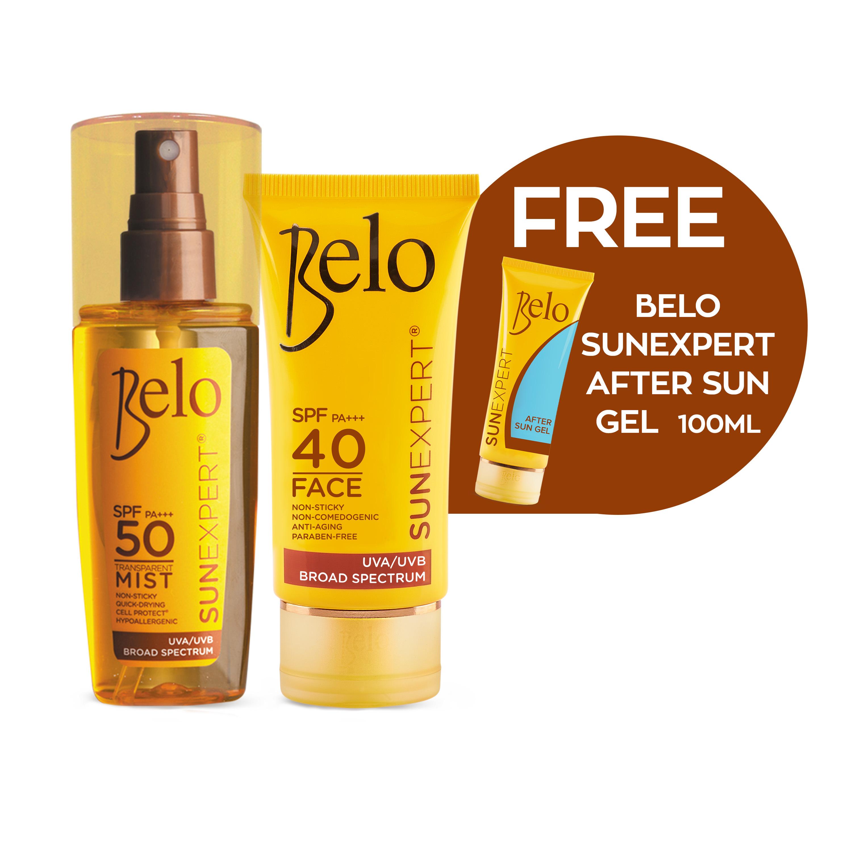 BELO SUNEXPERT FACE COVER & TRANSPARENT MIST + FREE AFTER-SUN GEL