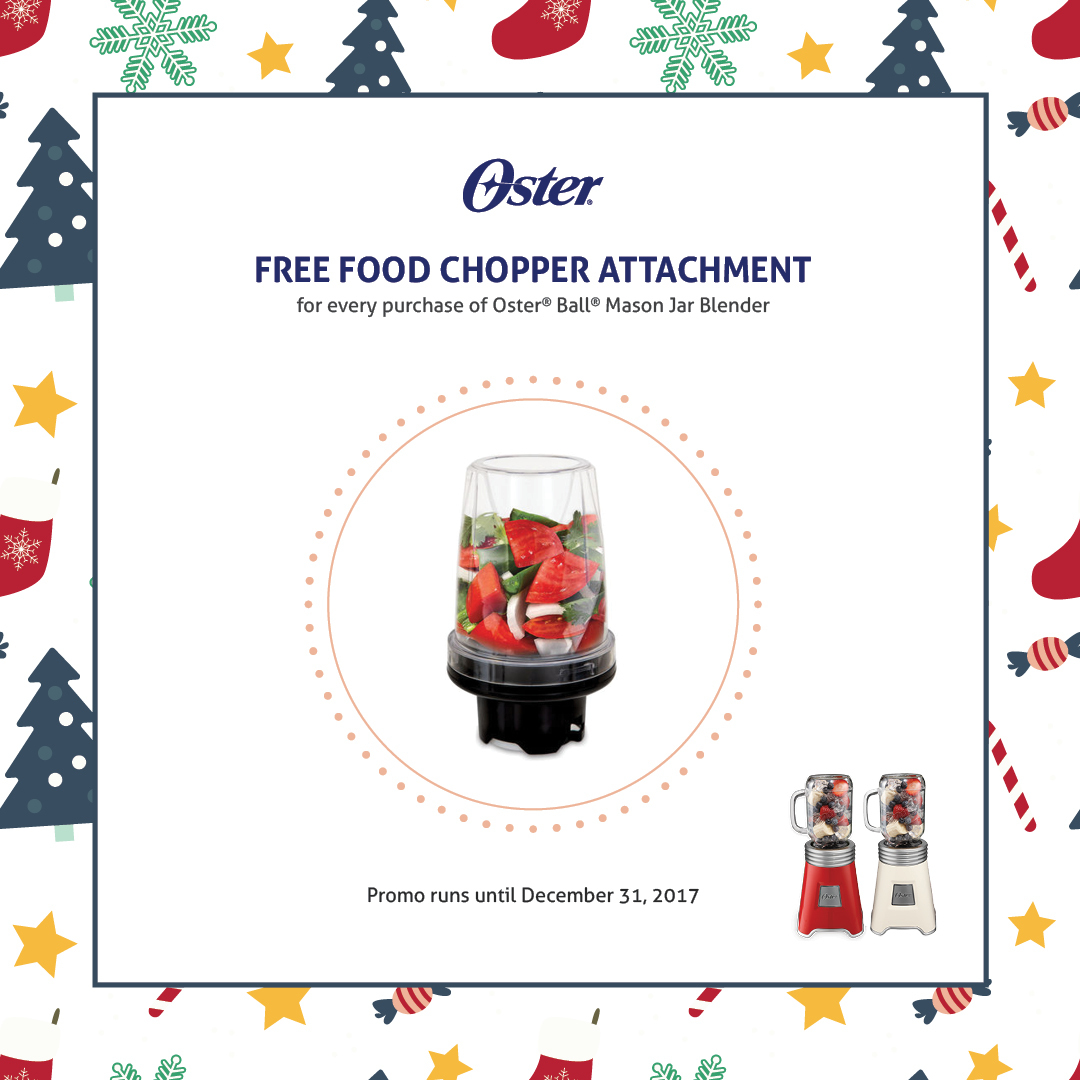 Oster Ball Mason Jar Blender Red (BLSTMM2-BRE) - with FREE FOOD CHOPPER
