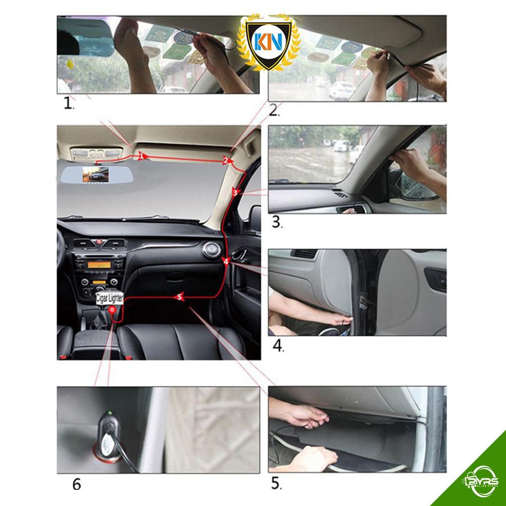 KN KNight International R52 Rearview Mirror Dual Dashcam Car DVR Camera