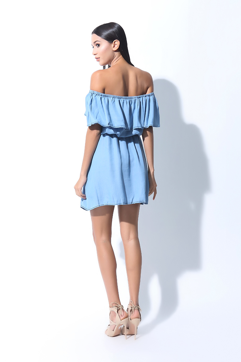 FOLDED AND HUNG  OFF SHOULDER ROMPER DRESS (L7BPTD11L)