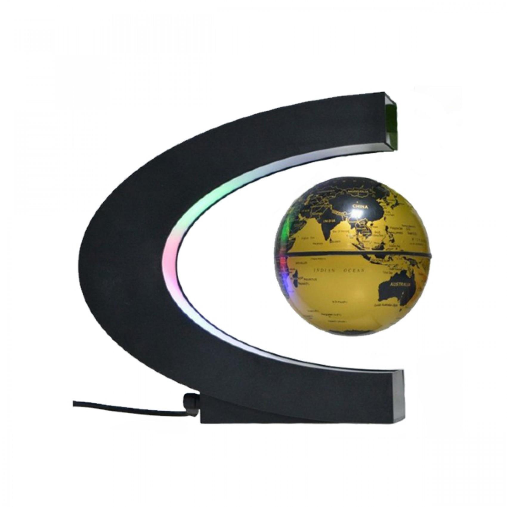 3 inch c shape electronic magnetic levitation floating globe world 3 inch c shape electronic magnetic levitation floating globe world map with led lights gold gumiabroncs Images