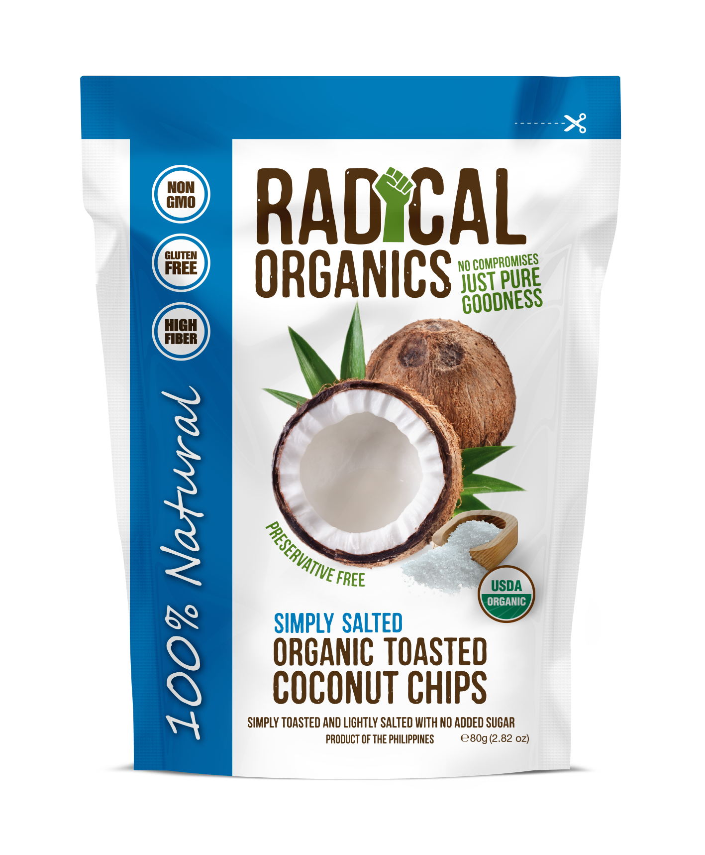 Buy Radical Organics Simply Salted Toasted Coconut Chips 80g Get a FREE Original Toasted 20g