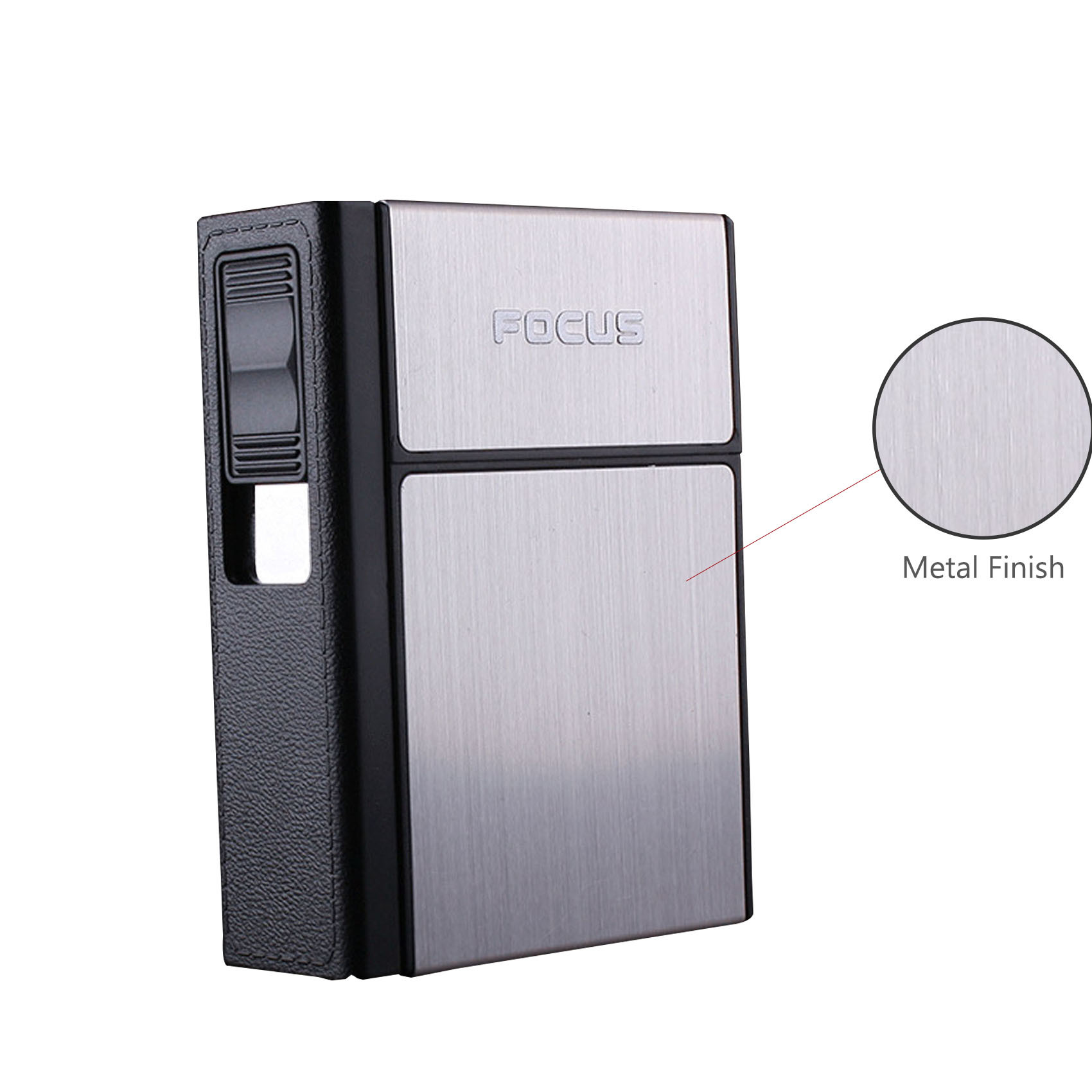 Focus Cigarette Case with Rechargeable Lighter - Silver