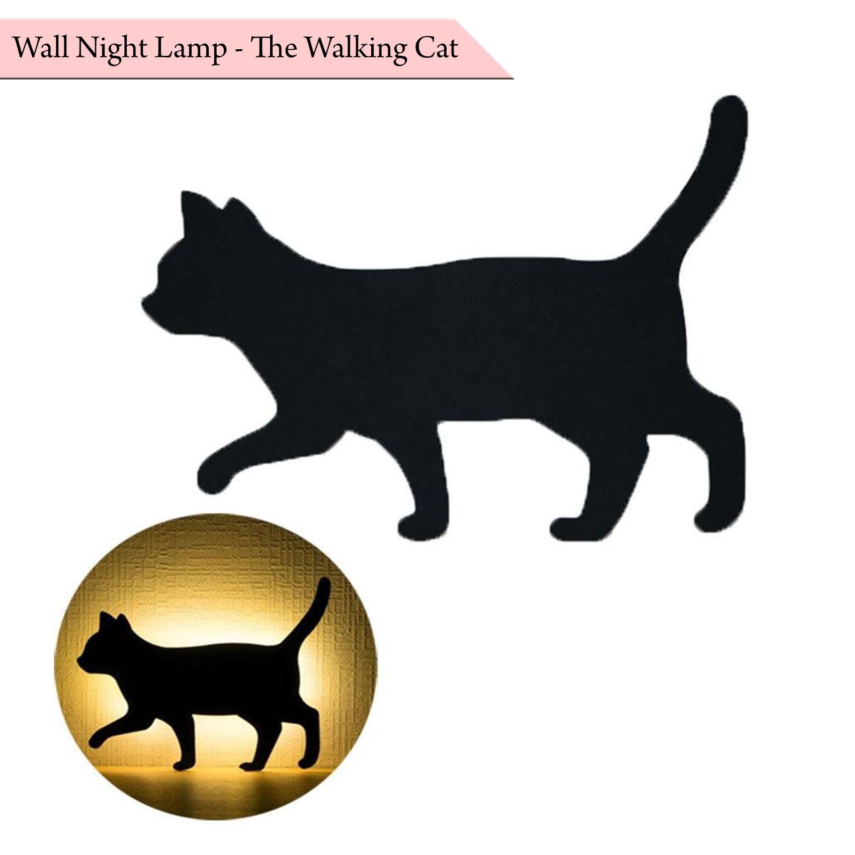 Wall Night Lamp Walking Cat - Black