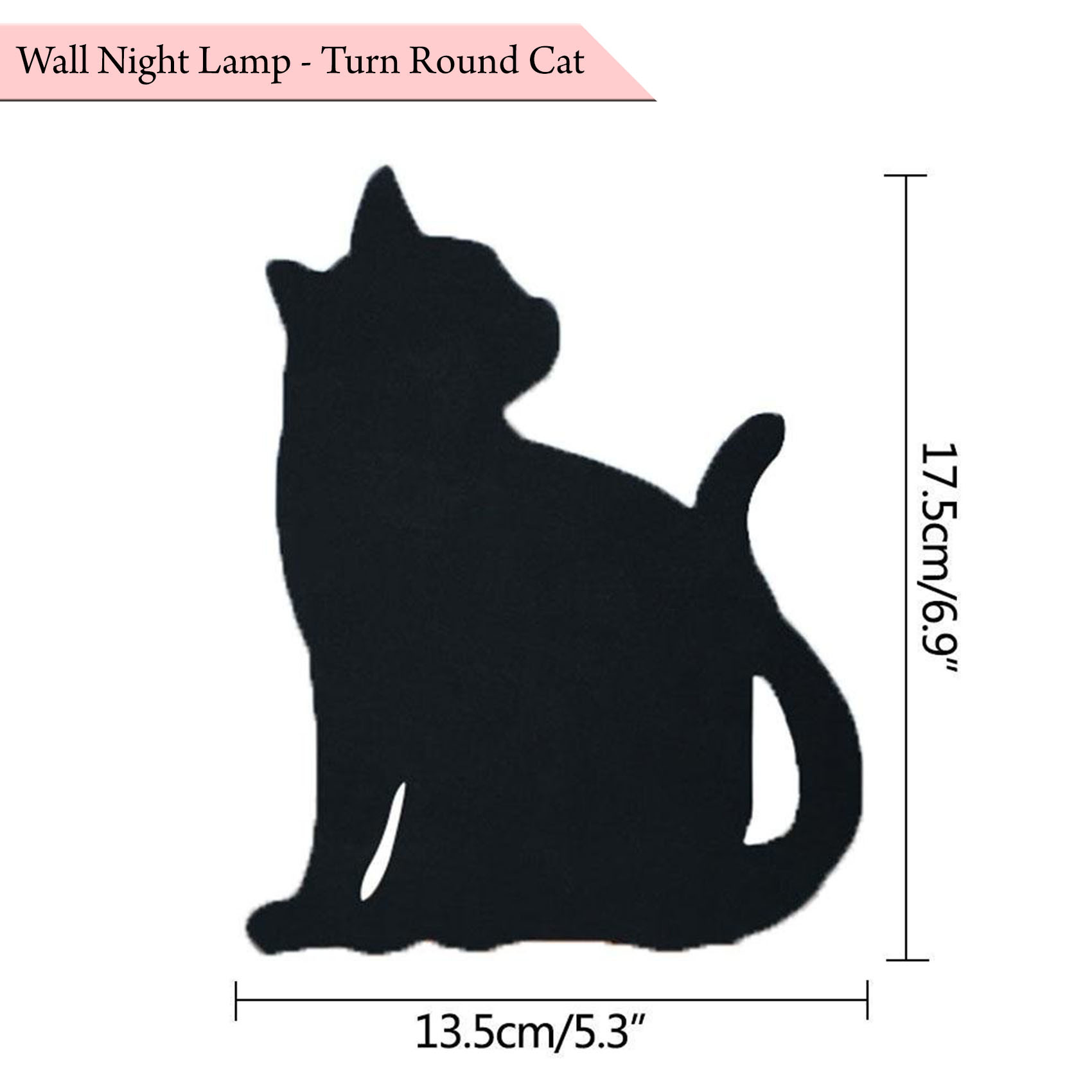 Wall Night Lamp Turn Around Cat - Black