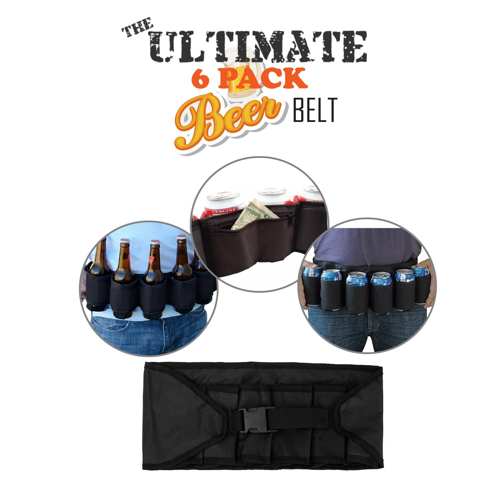 6 Pack Beer Belt Stag Holster-Black