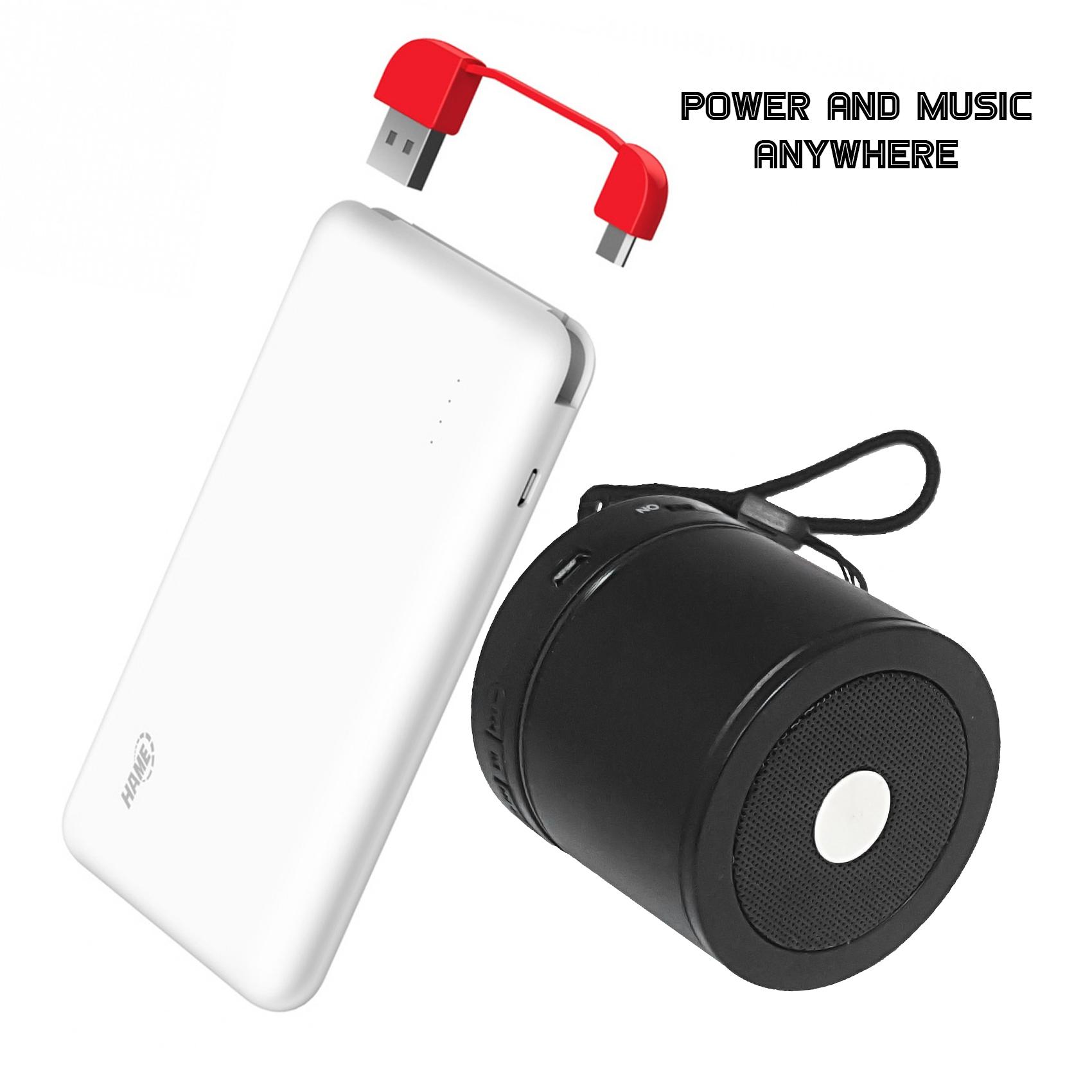 Hame T6 10000 mAh Powerbank And AEC BQ-606 Mini Bluetooth Speaker - Black/White