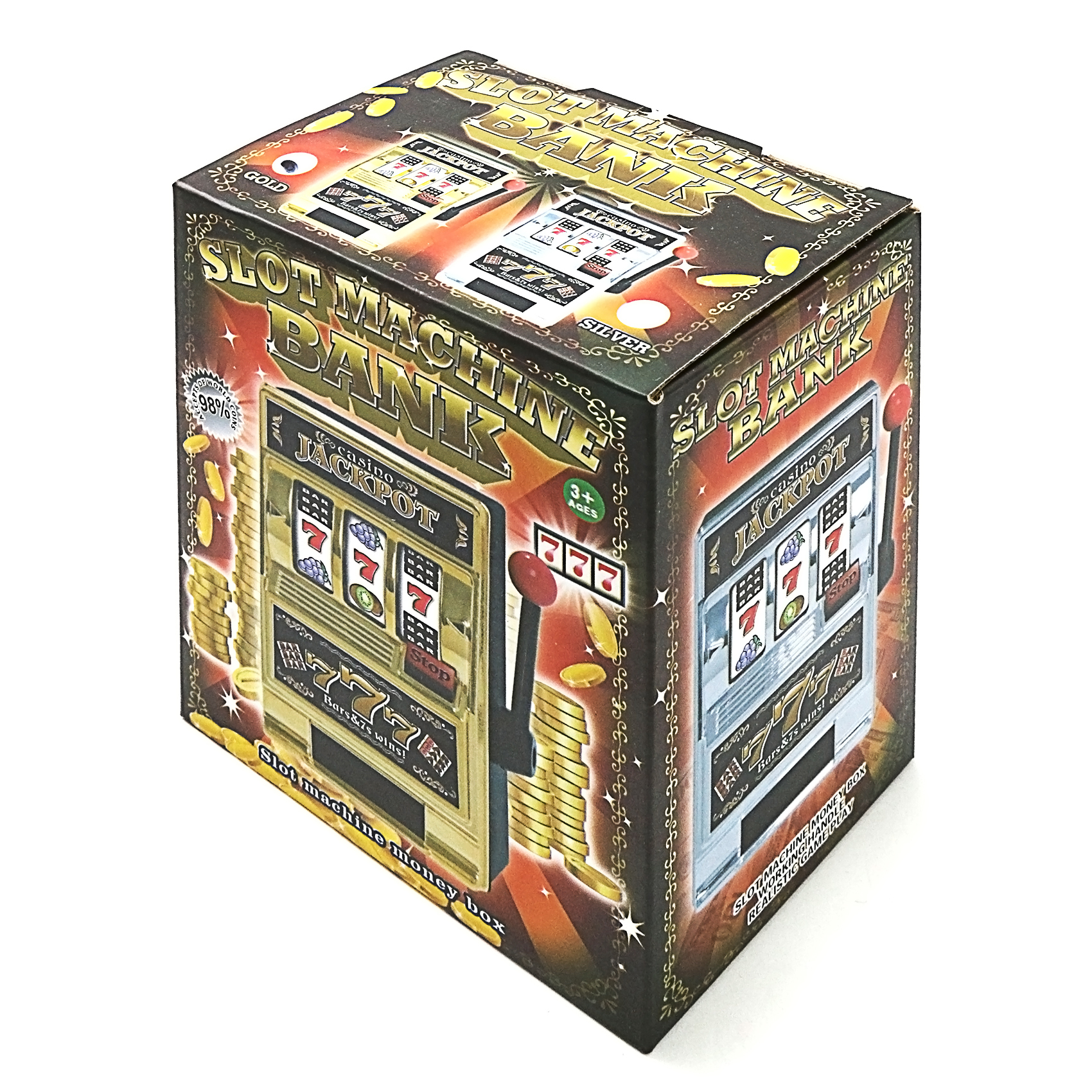 Toy Machine Bank Slot Coin Tin Jackpot Casino Vegas Money Box - Silver