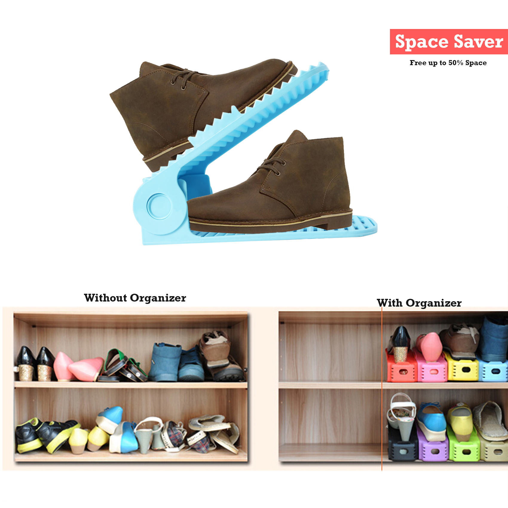 2 Pieces Adjustable Double Deck Shoe Rack Organizer 21 cm - Blue
