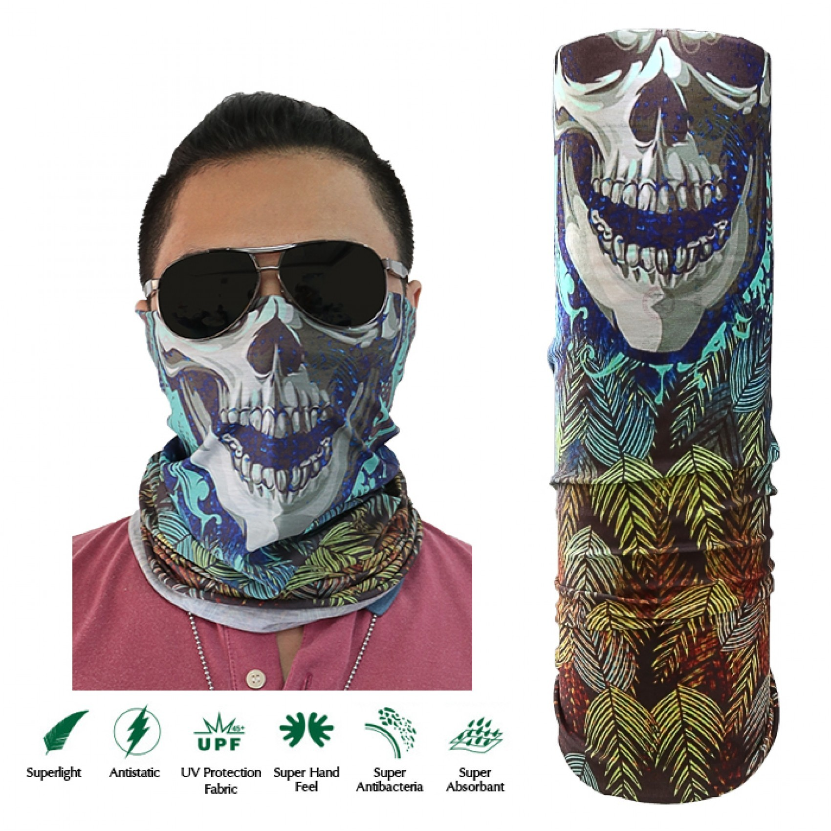 Skull Face Design Full Face Mask - Blue