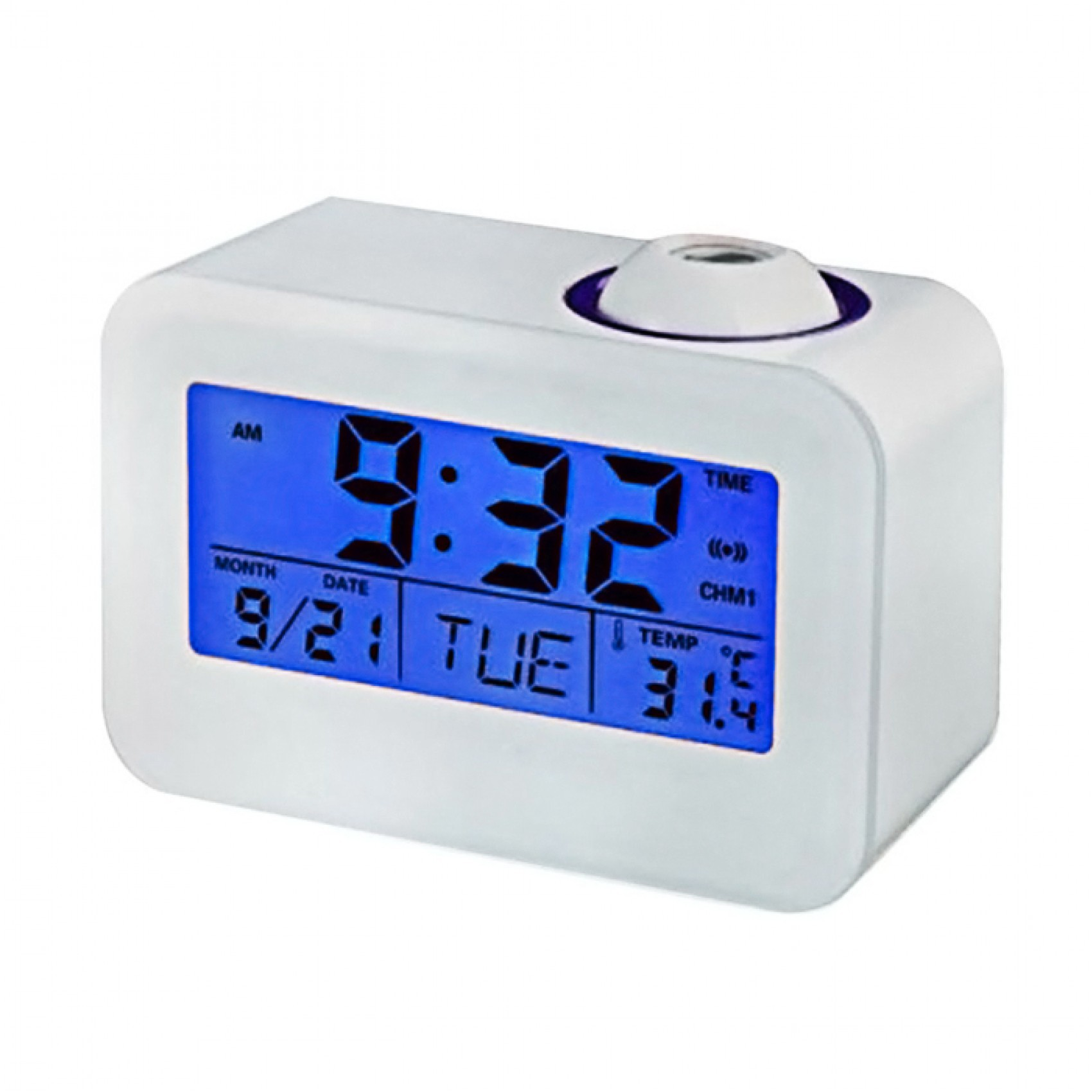 LCD Time Projection Digital Alarm Clock - White