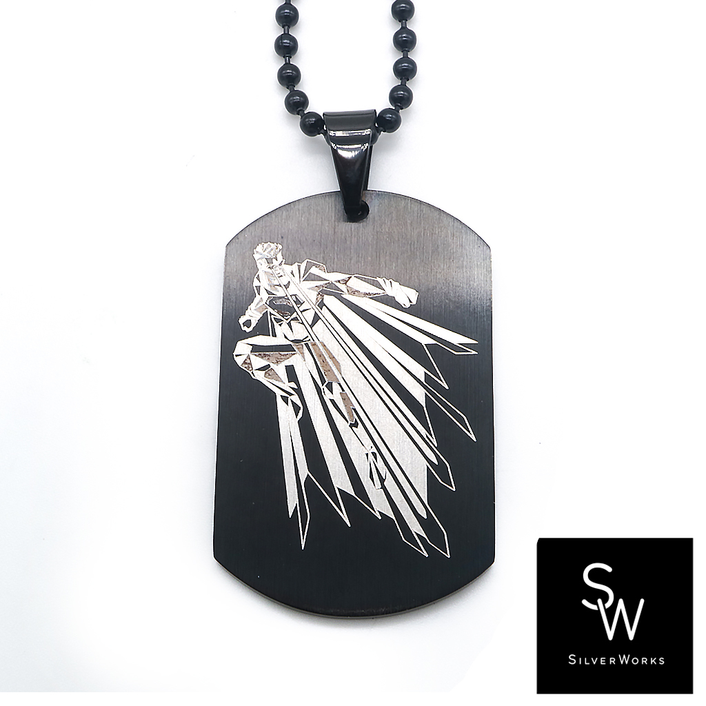 Silverworks X3070 Black Superman Engraved Matte Dogtag with Ball Chain