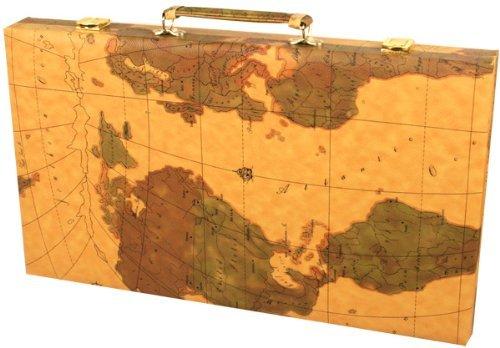 21 inch leatherette backgammon set with beautiful old world map 21 inch leatherette backgammon set with beautiful old world map design publicscrutiny Choice Image
