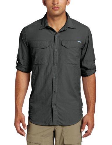 Columbia men 39 s silver ridge long sleeve shirt medium gravel for Mens medium long sleeve shirts