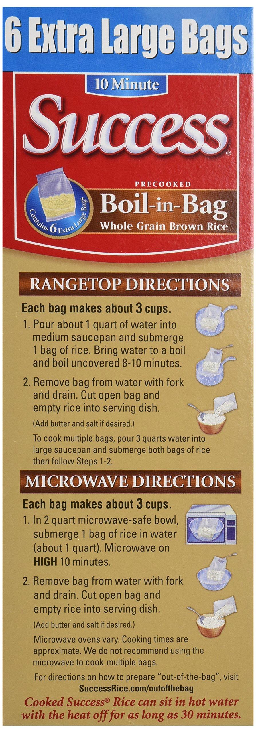 Success Rice Boil In Bag Brown Rice, 6 Large Bags, Wt 32 Oz