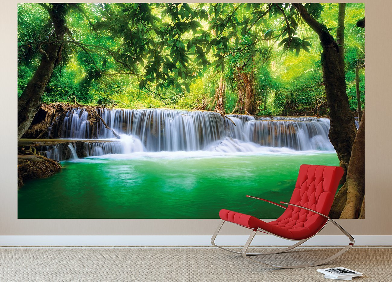 paradise photo wall paper waterfall in the jungle jungle river kanchanaburi thailand si sawa. Black Bedroom Furniture Sets. Home Design Ideas