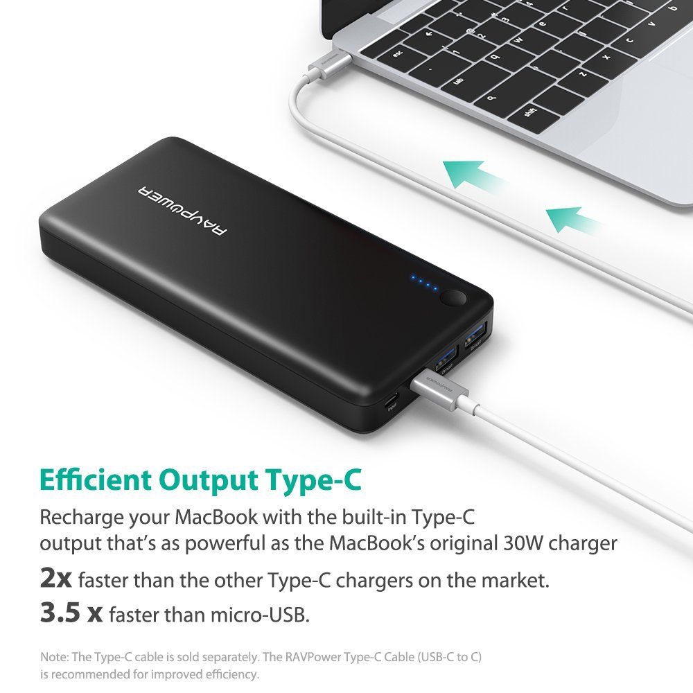 Ravpower 20100mah external battery portable charger for Usb c portable charger