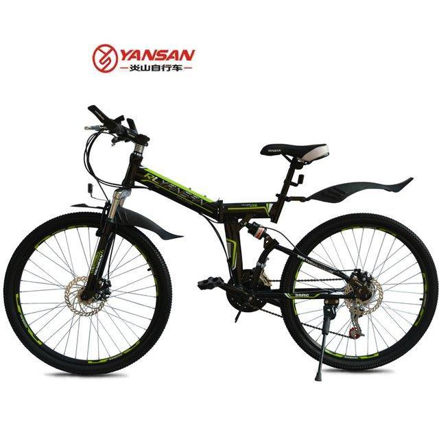 "Yan San 24"" 7 SP Speed Y Folding Mountain Bike BLACK (PND-YS-BLACK)"