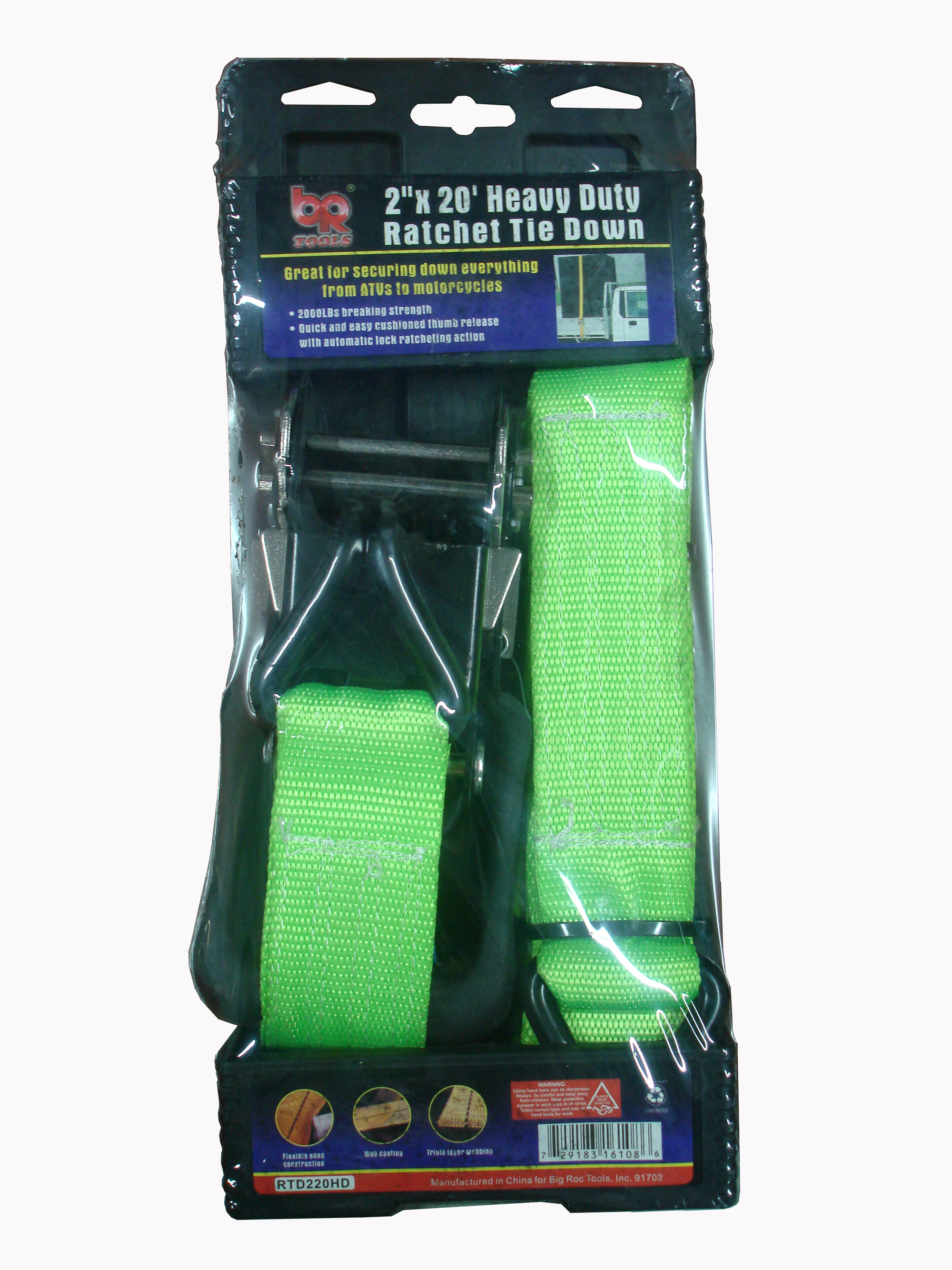 "KCT RTD220HD 2""x20' Heavy Duty Ratchet Tie Down (729183161086)"