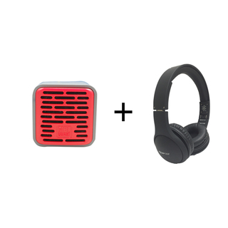 Qub One Bluetooth Speaker (Red) plus Boompods Headpods (Wired)