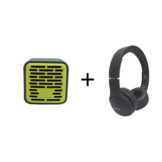 Qub One Bluetooth Speaker  (Lime Green) plus Boompods Headpods (Wired)